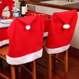 red event decor 2019 - Xmas Red Santa Clause Hat Cap Chair Back Covers New Christmas Dinner Party Decorations Festive Event Decor Supplies 1000
