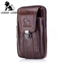 1455913d4117 LAOSHIZI Genuine Leather Waist Packs Fanny Pack Belt Bag Phone Pouch Bags  Travel Waist Pack Male Small Bag Leather Pouch