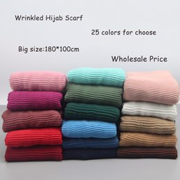 wrinkle scarf wholesale Canada - 10pcs lot Women's Pleated Crinkle Hijab Scarf Wrinkled Scarves Muslim Head Wrap Shawl Large Size 180*100cm Y18102010