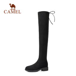 Knee High Shoe Laces Australia - CAMEL Winter Boots Women Fashion Thigh High Boots Faux Suede Over The Knee Lace Up Sexy High Heels Women Shoes Lace Up