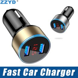 $enCountryForm.capitalKeyWord NZ - ZZYD QC3.1A Dual USB Car Charger Car-styling 2 LED Indicator Universal Mobile Phone Charger for iP8 Xs Max Samsung S8