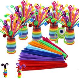 100pcs / lot bendaroos Montessori Matériaux Math Chenille tiges Sticks Puzzle Craft Enfants Nettoyeur De Tuyaux Éducatif Jouet Créatif