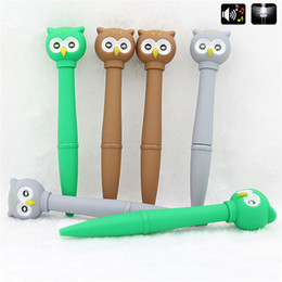 $enCountryForm.capitalKeyWord Australia - 1Pc Novelty Voice Light Ballpoint Pen Kawaii Owl Multifunctional Electronic School Supplies Writing pen For Kids stationery Gift