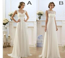 $enCountryForm.capitalKeyWord Australia - 22011New Empire Bohemian Wedding Dresses Cheap Maternity Gown Cap Sleeve Keyhole Lace Up Backless Chiffon Summer Beach Pregnant Bridal Gowns