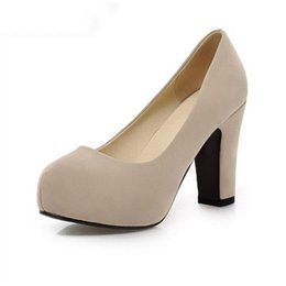 women squaren high heels shoes nude color sexy dress lady pumps brand heeled  footwear heel shoes size 32-43 4cba9f7b09b7