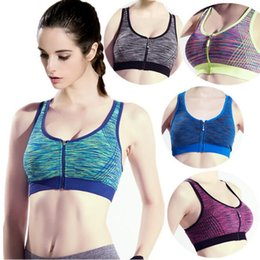 56a550f16b74f 5 Colors Soft Breathable Sports Bra Women Sport Bra Running Gym Yoga Padded  Fitness Tops Workout Zipper Stretch Sports Bra CCA9158 100pcs