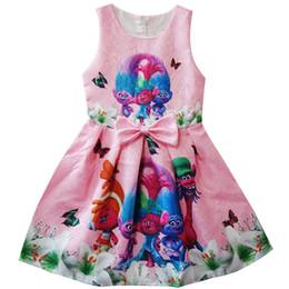 Chinese  Girls Trolls Bowknot Pleated Dress Skirt 3 Colors Children Cartoon Sleeveless Sling Dresses Kids Clothing Skirt Cosplay Free Shipping B0163 manufacturers