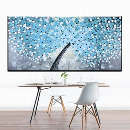 Decorative pictures for beDrooms online shopping - 1 Panel modern decorative canvas art light blue fat tree canvas pictures oil art painting for livingroom bedroom decoration art No Frame