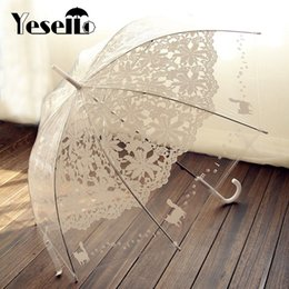 $enCountryForm.capitalKeyWord Canada - Yesello 1PCS Romantic imitation lace Transparent cute cat Large long Rain Wind Umbrella For Lolita Women Travel