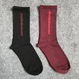 Wholesale Season Calabasas Socks Men Sports Basketball Soccer Stockings Kanye West Hip Hop Street Gosha Socks Black Red OXH0105