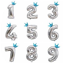 $enCountryForm.capitalKeyWord Australia - 1Set 32inch Figures Silver Number Crown Foil Balloon Float Air Inflatable Balls For Boys Girls DIY Birthday Party Decoration