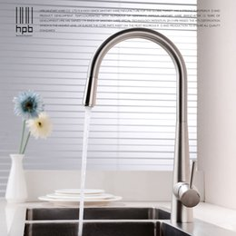Discount brushed chrome kitchen mixer taps - HPB Brass Brushed Chrome Pull Out Deck Mounted Hot And Cold Water Kitchen Mixer Tap Pb-free Sink Faucet torneira cozinha
