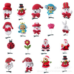 Wholesale Girl Children Cute Christmas Decorate Hairpins Spring Stereoscopic Girls Popular Hair Clip Hot Sale Snowman Santa Claus penguin Shape