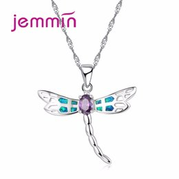 $enCountryForm.capitalKeyWord Australia - Jemmin New Women Dragonfly Design Pendant Necklace 925 Sterling Silver Blue Fire Opal Necklaces Jewelry for Lady