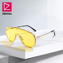 a88b6eeb08b DENISA Retro One Piece Shield Sunglasses Men 2018 Fashion Trendy Rimless Oversized  Sun Glasses For Women UV400 zonnebril G22076
