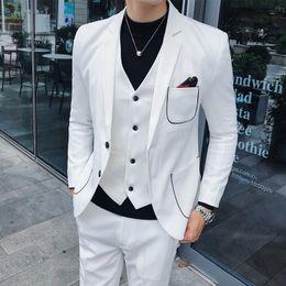korean long black hair 2019 - Autumn suit suit men's British style stitching Korean version of Slim fashion married young hair stylist three-piec