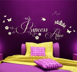 Wall Stickers Children S Bedroom Australia - Princess Crown Personalised Name CHILDREN GIRL BEDROOM WALL ART STICKER REMOVABLE VINYL TRANSFER DECAL HOME DECORATION S M L