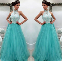 AquA tulle online shopping - Aqua Prom Dresses Formal Evening Party Pageant A line Gowns African Black Girl Halter Lace Long Cheap