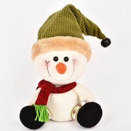 Christmas Tables Canada - Christmas Snowman Doll Table Sitting Posture Decoration Christmas Home Decoration Doll Green  Red Snowman Christmas Gift 2Colors