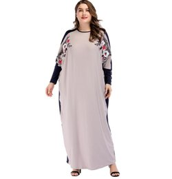 305a089df6 Bat Sleeve Muslim Loose Dress Embroidered Dress In Large Size Women s  Middle East Rieling Robe Abaya Hijab Musulman Fashion