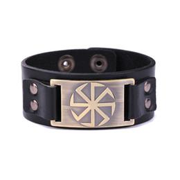 Vikings bracelet online shopping - High Quality Zinc Alloy Slavic Amulet Charm Leather Bracelets Scandinavian Norse Viking Adjustable Bangle Bracelet Punk Jewelry