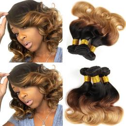 Discount ombre weave - Fashion Style Brazilian Body Wave Virgin Hair Bundles Honey Blonde Ombre 3 Bundles Human Hair Weave Short Bob Hair Exten