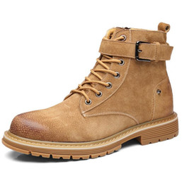 Discount korean cowboy boots leather men - Martin boots men's autumn Korean version of the trend of England short boots men's retro leather boots wild hi