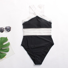 Wholesale black high waisted one piece for sale – plus size Womens Sexy Illusion Striped High Waisted Monokini Colorblocked Sheer Neckline One piece Bathing Suit Swimwear Summer