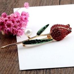 Red Indian Costumes Australia - New Fashion Red Crystal Rose Flower Brooch Pins Rhinestone Enamel Pearl Scarf Clips For Women Costume Lapel Pins Accessories