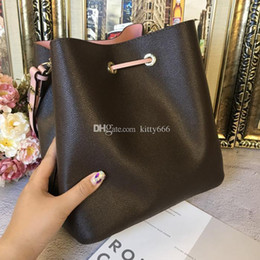 wholesale flower buckets Canada - NEONOE shoulder bags Noé Genuine leather bucket bag women famous brands designer handbags flower printing crossbody bag TWIST DHL Free Ship