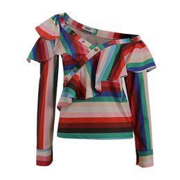 China Women Stripe Sexy Blouse with Ruffles Trim Blue Striped Lady Summer Fashion Tops Shirts Button Zipper Blouse supplier women white ruffle cotton blouses suppliers