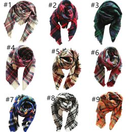 Tartan Scarfs Australia - Kids Plaid Blanket Scarves Tartan Striped Tassels Scarf Fashion Warm Neckerchief Autumn Winter Baby Scarf Shawl Accessories 100*100cm