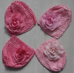Knitted Hair Hat NZ - 20pcs elastic knit crochet hat with 8cm chiffon fabric flower for baby girls hair supplies