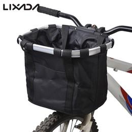 Vente en gros Vélo Vélo Amovible Cycle Avant Toile Panier Sac Transporteur Pet Carrier Alliage D'aluminium Frame accessoires de vélo