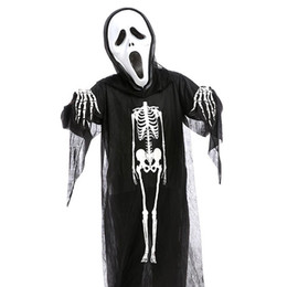 kids scary costumes 2019 - Horror Halloween Skull Skeleton Demon Ghost Cosplay Costume Mask Children Kids Carnival Masquerade Party Black Robes Sca