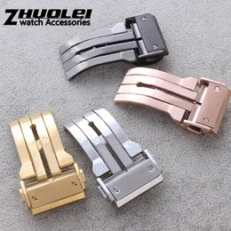 stainless steel deployment clasp buckle UK - luxury deployment watches buckle Stainless Steel Black Gold Silver Rose Gold Finished Watch Band Clasp Watchband 22 24mm