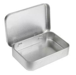 Small Silver Box Case UK - Survival Kit Tin Higen Lid Small Empty Silver Flip Metal Storage Box Case Organizer For Money Coin Candy Keys