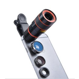 China 4 in 1 Camera Lens 8x Telephoto Lens Fisheye Wide Angle Macro Lens for iPhone 7 6s plus Samsung Galaxy S8 S7 Edge suppliers