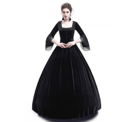 China 2018 Autumn Women Retro Vintage Long Sleeve High waist Dresses Cotton Renaissance Victorian Gothic Ruffle Medieval Dress Costume suppliers