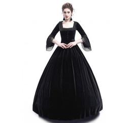 2018 Herbst Frauen Retro Vintage Langarm Hohe Taille Kleider Baumwolle Renaissance Victorian Gothic Rüschen Mittelalter Kleid Kostüm