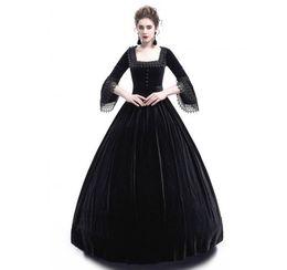 2018 mujeres del otoño de la vendimia retro de manga larga vestidos de cintura alta de algodón renacentista victoriana gótico volante traje medieval vestido