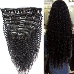 Clip Human Hair Extensions Remy 24 UK - Curly Clip In Human Hair Extensions Remy Human Hair 100g 7pcs Lot Mongolian Remy Hair