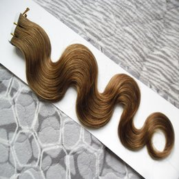 "tape hair extensions body wave 2018 - Malaysian Body Wave Hair tape in human hair extensions 100g 40pcs Skin Weft hair extension tape aaaaaaa 16"" 18&quot"