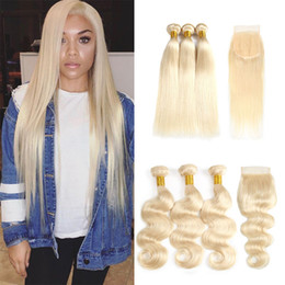 cheap closures Canada - Cheap Straight Brazilian human Hair Weaves 613 Blonde Color Virgin Hair Bundles with Closures Body Wave Human Hair Extensions Wholesale
