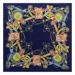 $enCountryForm.capitalKeyWord NZ - New Silk Scarf Women Square Tassel Scarf Spain Chain Printed Lady Brand Wraps Shawls Office Female Foulard Kerchief 60cm*60cm