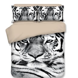 King Size Quilt Covers Polyester Cotton UK - Free shipping Novelty cool Gift black white tiger pattern bedding set duvet Quilt Cover with 2 pillowcase Twin full Queen King size
