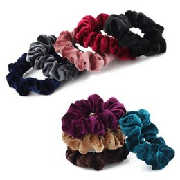 $enCountryForm.capitalKeyWord UK - 5PCs Women Velvet Solid Elastic Hair Bands ponytail Holder Scrunchies Tie Hair Rubber Band Headband Lady Accessories