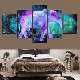 Canvas Prints Frame Australia - Canvas Print Pictures Home Decor 5 Pieces Animal Elephant Painting Color Abstract Watercolor Poster Living Room Wall Art Framed