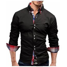 Men sliM dress business shirt online shopping - Men Shirt Spring New Brand Business Men S Slim Fit Dress Shirt Male Long Sleeves Casual Shirt Camisa Masculina Size M