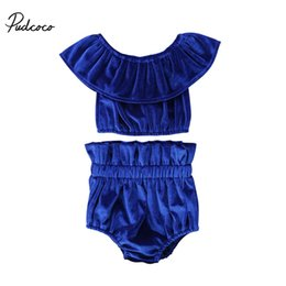 China Adorable 2018 Newborn Kids Baby Girls Off Shoulder Ruffle Short Sleeve Cute Set Tops Shorts 2Pcs Outfits Clothes cheap off boy suppliers